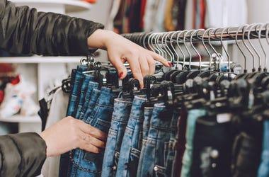 Denim jeans on a rack