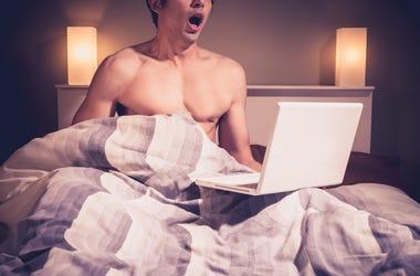 guy watching porn