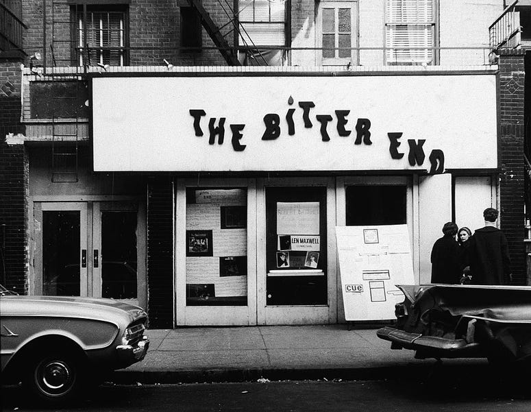 Exterior of The Bitter End coffee house, a venue specializing in live acoustic folk music, Greenwich Village, New York City, 1960s.