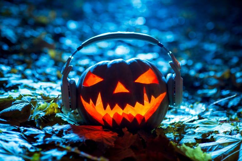 Halloween pumpkin with headphones