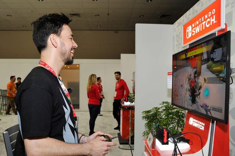 Mike Shinoda Playing a Nintendo Switch