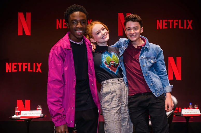 """Caleb Mclaughlin, Sadie Sink and Noah Schnapp attend the Netflix Original Series """"Stranger Things"""" Press Conference on December 10, 2018 in Sao Paulo, Brazil"""