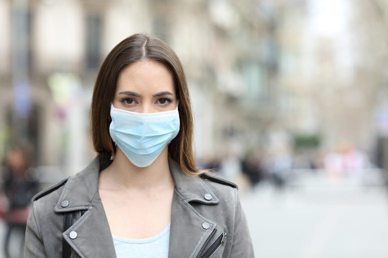 Woman in Protective Face Mask