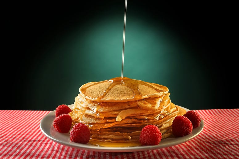 Pancakes on a plate with syrup