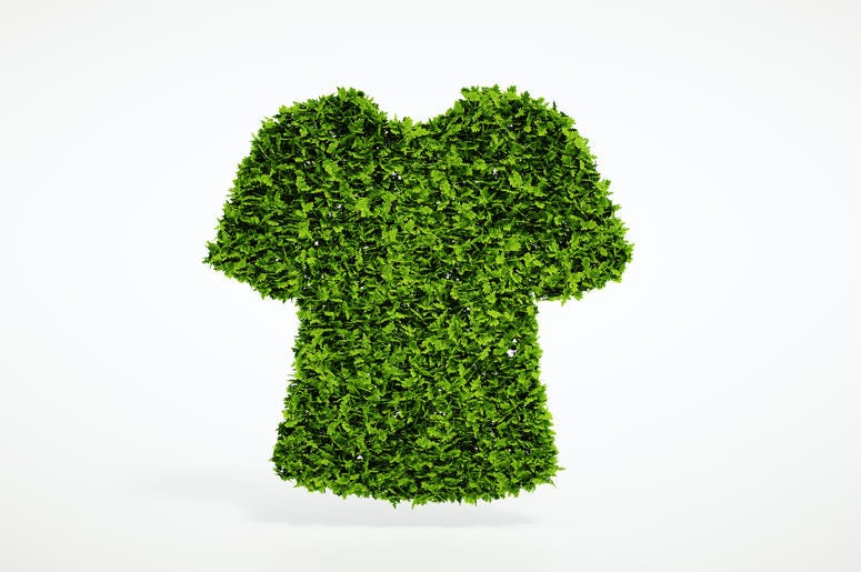 Sustainable fabrics. A shirt made from green leaves