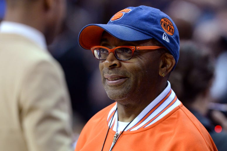 Academy Award Winner and Director Spike Lee looks on during the game between the Cleveland Cavaliers and the New York Knicks at Quicken Loans Arena on October 30, 2014 in Cleveland, Ohio.