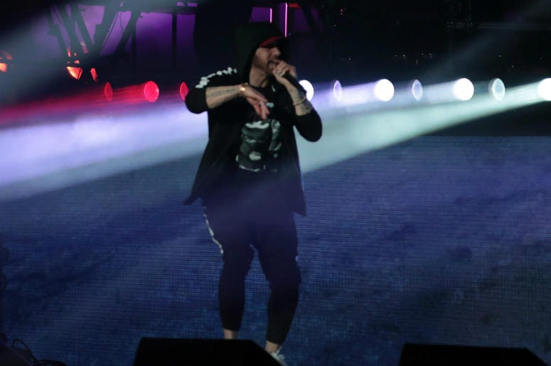 Eminem performs at the Coachella Valley music and Arts Festival at Empire Polo Club.