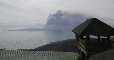 Taal volcano continues to erupt in Lemery, Batangas, southern Philippines on Monday, Jan. 13, 2020.