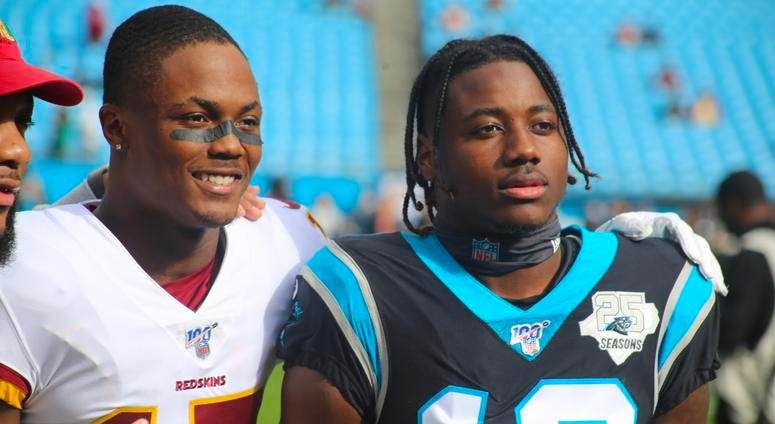 Receiver Curtis Samuel and Redskins receiver Terry McLaurin