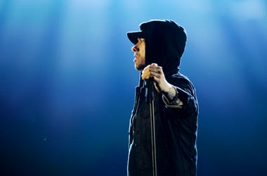 Eminem performs on stage during the MTV EMAs 2017