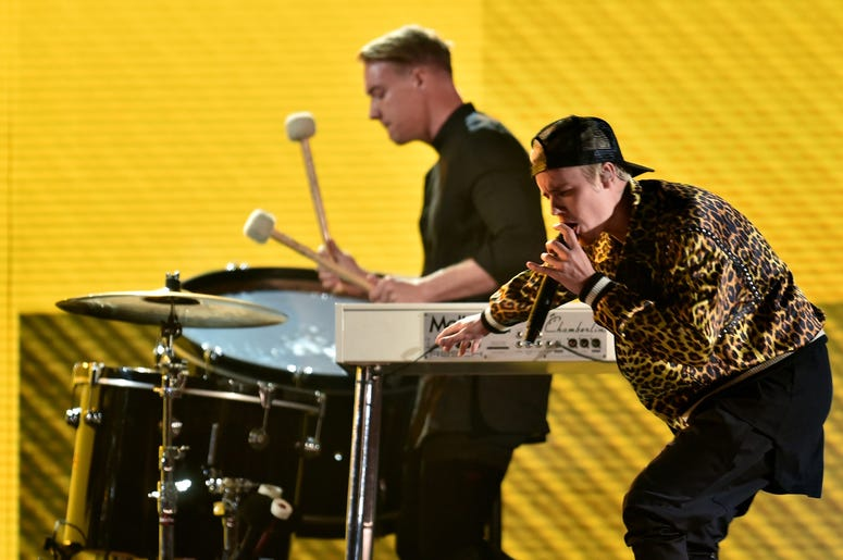 Justin Bieber and Jack U perform during the 58th Grammy Awards