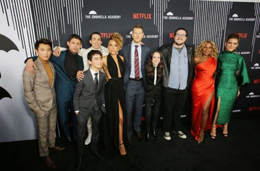 Justin Min, David Castañeda, Robert Sheehan, Aidan Gallagher, Emmy Raver-Lampman, Tom Hopper, Ellen Page, Cameron Britton, Mary J. Blige and Kate Walsh attend 'The Umbrella Academy' Premiere at Cinerama Dome on February 12, 2019 in Hollywood, California