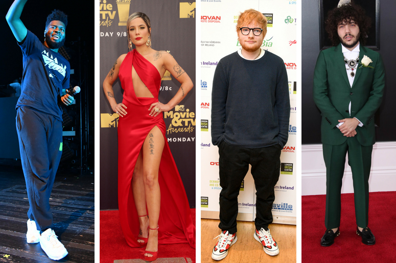 Khalid performs at the The Fillmore Miami Beach at Jackie Gleason Theater. Halsey 2018 MTV Movie And TV Awards held at Barker Hangar. Ed Sheeran arrives at the London Irish Centre in Camden Square, London. Benny Blanco arrives at the 60th Annual Grammy Aw
