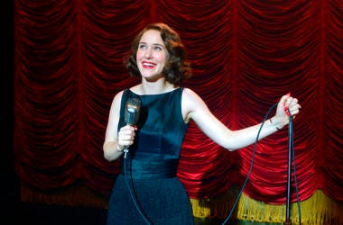 "Amazon Studios shows Rachel Brosnahan in a scene from ""The Marvelous Mrs. Maisel."" Season three premieres on Friday on Amazon Prime."
