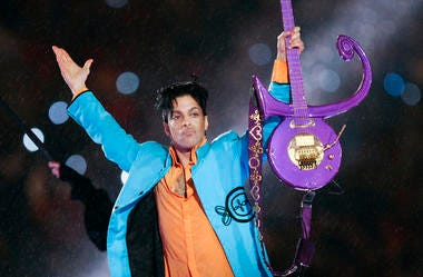 Prince performs during halftime of the Super Bowl XLI football game in Miami.