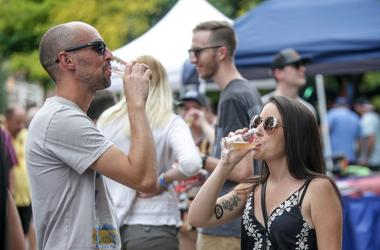 Siblings Alissa and Pretty Holloway sip on local brews