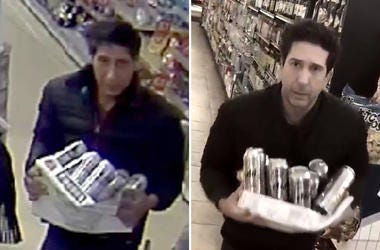 one issued by Blackpool Police and the other posted on the Twitter feed of David Schwimmer of alleged thief Abdulah Husseini, from Iran, in Blackpool (left) bearing a resemblance to Friends star Schwimmer, who posted a parody video of himself (right) in