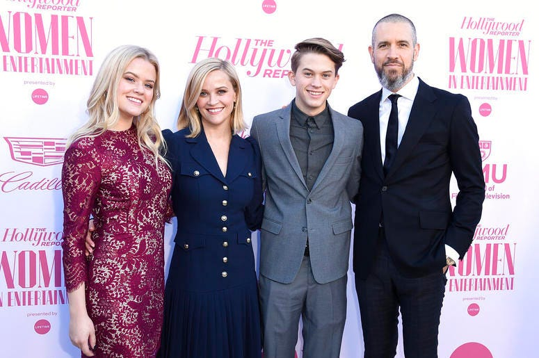 Ava Phillippe, from left, Reese Witherspoon, Deacon Phillippe and Jim Toth arrive at The Hollywood Reporter's Women in Entertainment Breakfast Gala on Wednesday, Dec. 11, 2019, in Los Angeles.