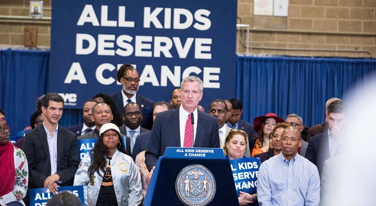 Mayor Bill de Blasio schools announcement