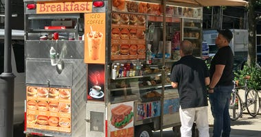 Food cart in New York City.