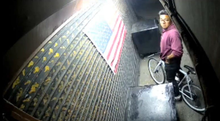 Man burns American flag