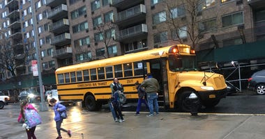 Children leaving school bus