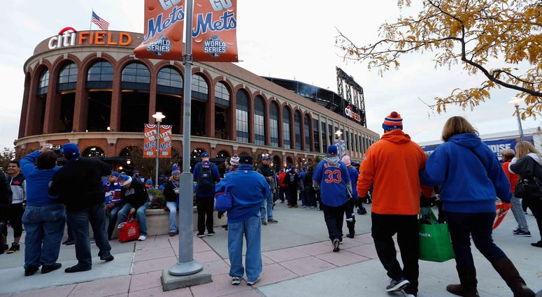 New York Mets fans line up outside Citi Field during the 2015 World Series.