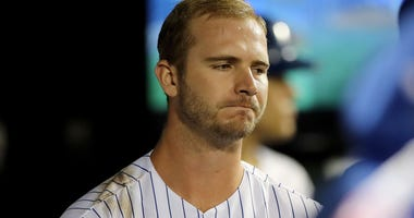 Pete Alonso #20 of the New York Mets reacts in the dugout after he struck out swinging in the eighth inning against the Miami Marlins at Citi Field on September 24, 2019