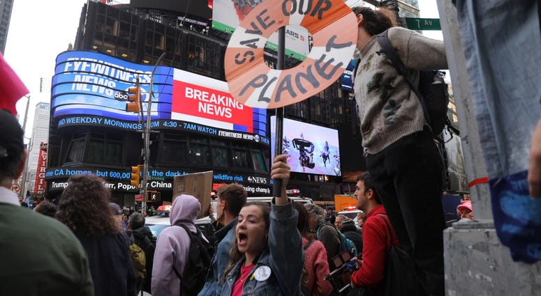 Climate change protest in Times Square.