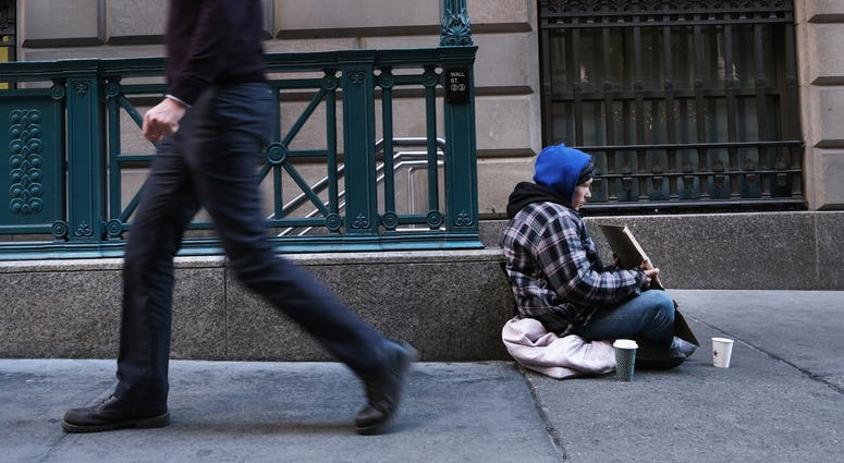A homeless person on the street in New York