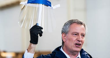 De Blasio face shield
