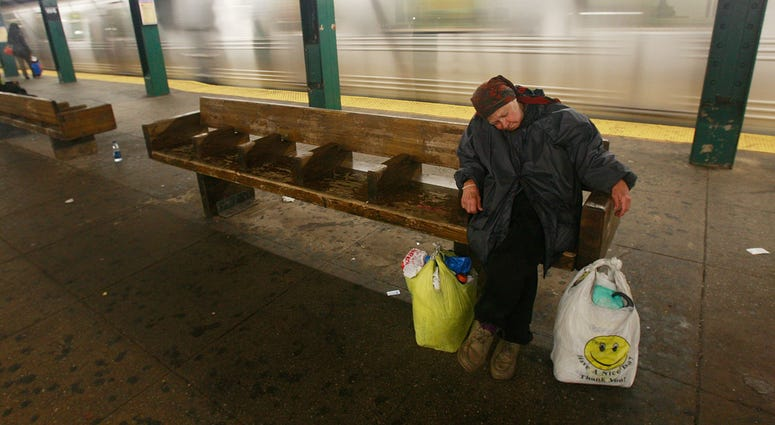 Homeless in subway