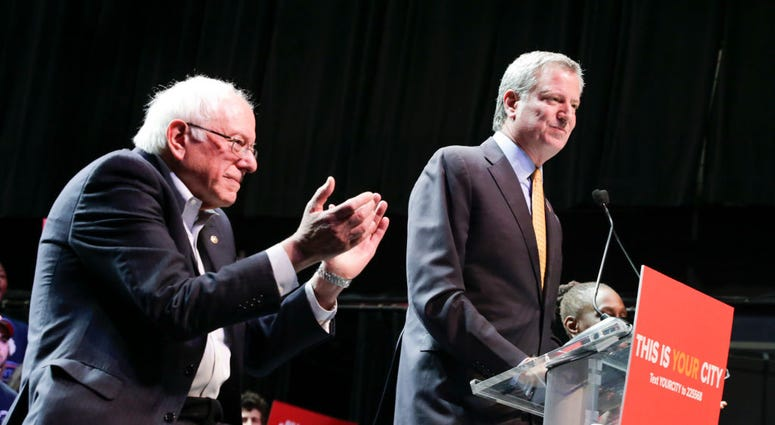 Mayor Bill de Blasio and Sen. Bernie Sanders