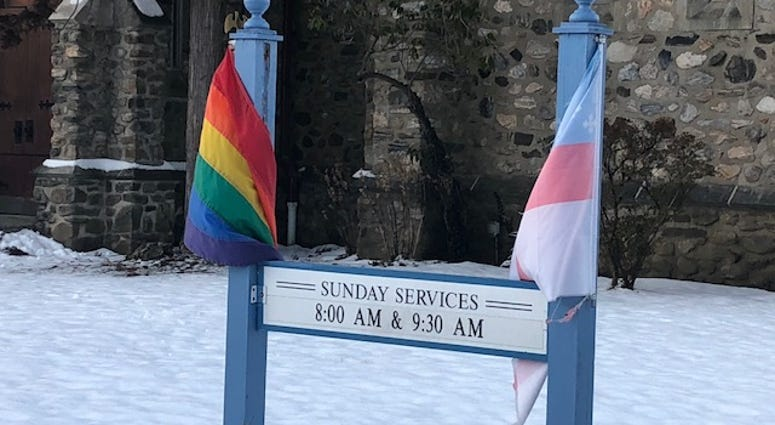 Sigh with pride flag vandalized outside Pleasantville church