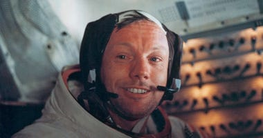 Astronaut Neil Armstrong,inside the 'Eagle' on the surface of the Moon.