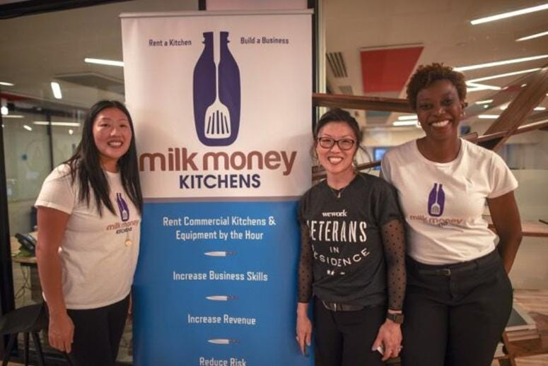Nancy Preston, owner of Milk Money Kitchens, and her presenting group at WeWork's Veterans in Residence