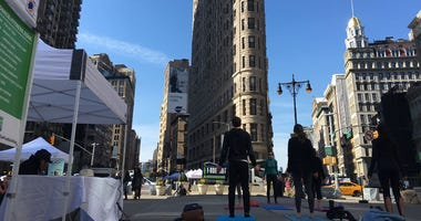 Parts of Broadway were shut down to vehicle traffic on Saturday as part of an Earth Day celebration.