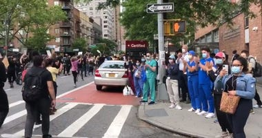 Healthcare Workers Cheer Protesters