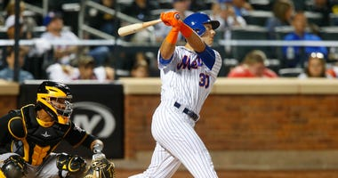 Michael Conforto is up at bat at Citi Field against the Pirates.