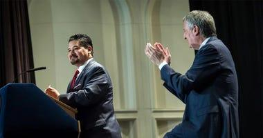 Schools Chancellor Richard Carranza, Mayor Bill de Blasio