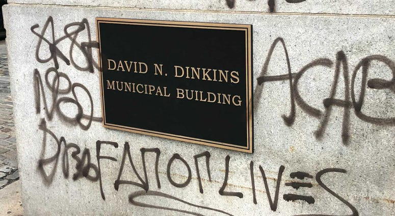 David Dinkins Municipal Building vandalized