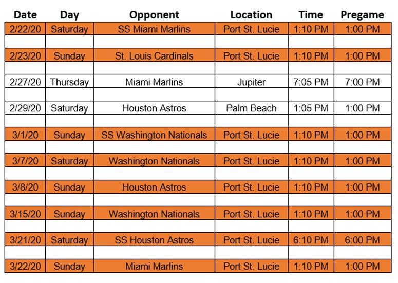 Mets 2020 Spring Training WCBS 880 Broadcast Schedule