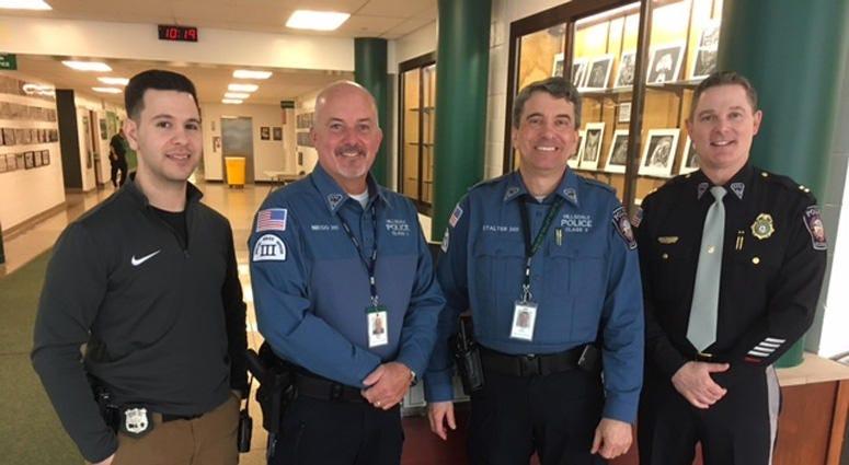 Hillsdale School Resource Officer Mike Camporeale, School Security Officer Mike Niego, School Security Officer Chip Stalter, Hillsdale Police Captain Sean Smith