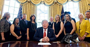 President Trump Meets With Crew And Passengers Of Southwest Airlines Flight 1380 At The White House