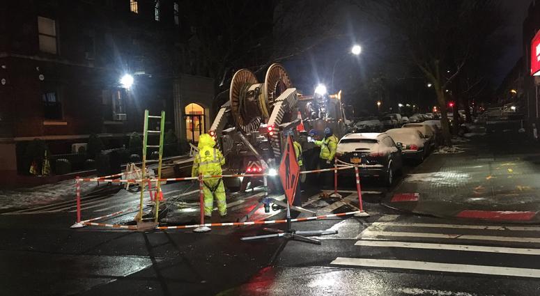 Manhole on fire in Brooklyn