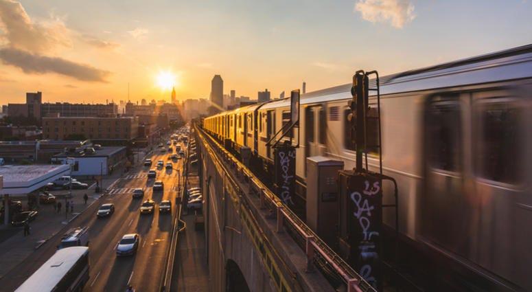 Elevated subway train