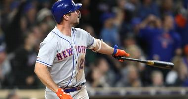 Mets first baseman Pete Alonso smashes a two-run home run against the San Diego Padres.