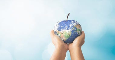 Earth as an apple in child's hands