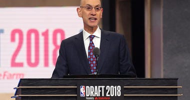 NBA Commissioner Adam Silver at the podium of the 2018 NBA Draft.