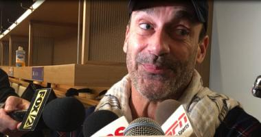 Actor Jon Hamm talks to reporters after watching the St. Louis Blues defeat the Dallas Stars in Game 7.
